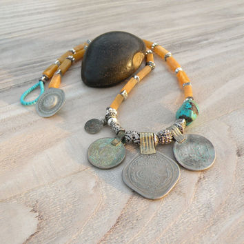 Nomadic Talisman Necklace - Tribal Gypsy, Coin Jewelry, Belly Dance, Golden Yellow and Turquoise