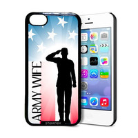Shawnex Proud US Army Wife Flag iPhone 5C Case - Thin Shell Plastic Protective Case iPhone 5C Case