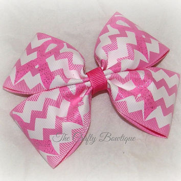 Breast Cancer Boutique Hair Bow, Pink and White, Chevron Print Bow, Pink Ribbon Bow, Bows for a Cause, Big Pink Bow, Zig Zag Ribbon Bow