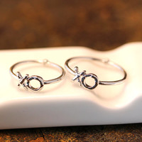 2 piece XO Knuckle Ring Rearside Tiny Crystal / 3 & 6 Size Kiss and Hug Infinite Love  Best Friend Ring Gift Idea