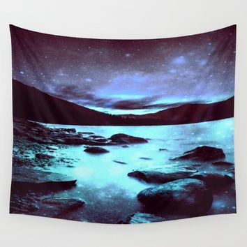 Magical Mountain Lake Violet Aqua Wall Tapestry by 2sweet4words Designs