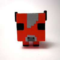 Handmade Minecraft Baby Mooshroom Wooden Figurine by GinsBin
