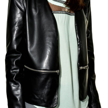 Zipper Accent Womens Leather Open Moto Jacket (Black)