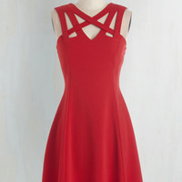 Mid-length Sleeveless A-line Darling of the Dance-a-thon Dress in Scarlet by ModCloth