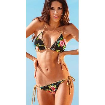 Liliana Montoya Swim B059D Dana Black Dark Floral Embroidered Triangle Top & Tie Side Swimwear Set