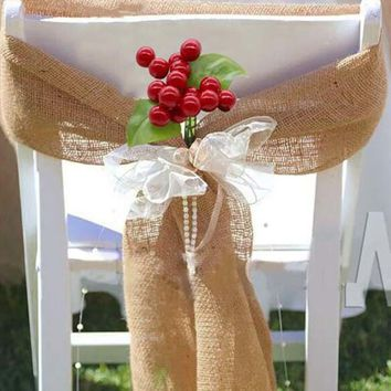 Burlap Chair Sashes Tie Bow with Artificial flower for Rustic Wedding