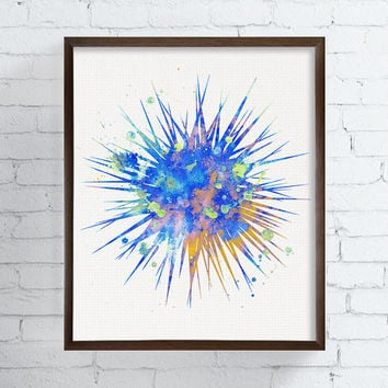 Watercolor Sea Urchin, Sea Urchin Art Print, Sea Urchin Painting, Coastal Wall Art, Sea Life Art, Beach Art Print, Watercolor Fish Art Print