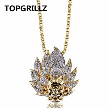TOPGRILLZ Hip Hop Brass Bicolor Micro Pave AAA CZ Bling Bling Super Saiyan Pendant Necklace Charm For Men Gifts Punk DJ Jewelry