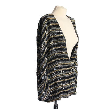 Gold, Silver and Black Sequin Beaded Embellished Pattern Jacket or Cardigan | Chiffon Interior | Women's Size Medium/Large 80s Blazer
