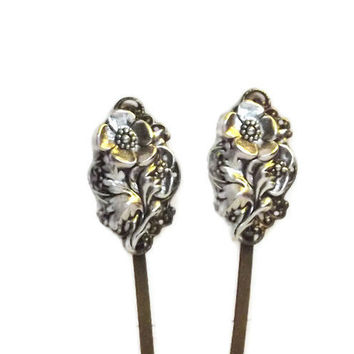 Bobby Pin Set  -  Floral  -  Art Nouveau Style  -  Handmade Hair Pins  -  Victorian Style  -  Antique Bronze - Filigree