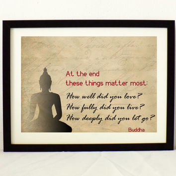Buddha Quote - Motivational quote poster - Buddha illustration print - life wisdom Quote - Yoga room decor - Inspirational print