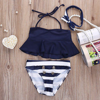 Kids Baby Girls Bikini Suit Navy Tops Striped Swimsuit Swimwear Bathing Clothes