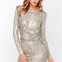 Olive & Oak Young Money Gold Dress