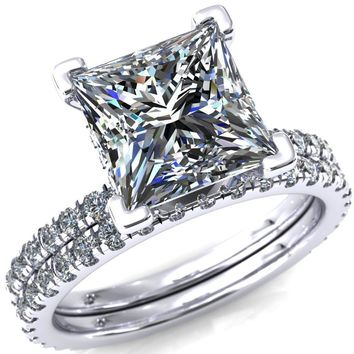 Sicili Princess/Square Moissanite 4 Prong Micro Pave Diamond Sides Engagement Ring