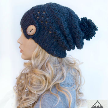 Crochet Ribbed Brim Slouchy Slouch Crochet Beanie Hipster Hat Coconut  Button Pom Pom - CHINOOK - RAVEN