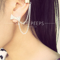 Rhinestone Bow Stud Ear Cuff Set with Silver Chainmaille