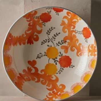 Sun Grove Large Serving Bowl by Anthropologie in Orange Size: Large Serving Bowl Serveware