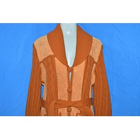 70s Leather Cable Knit Belted Women's Sweater Jacket Large