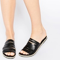 Pieces Jackie Black Leather Strappy Espadrille Flat Slider Sandals
