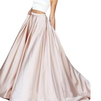Ankang Women's Formal Halter Two Pieces Prom Dress Party Gowns With Pockets 2016 Champagne US2
