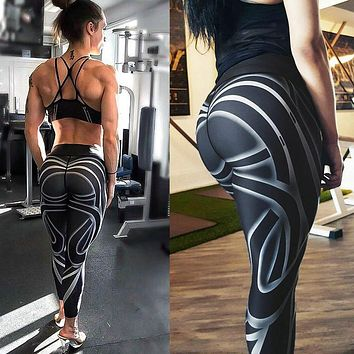 Leggings Yoga Gym Fitness Athleisure Workout Running Zumba, Black Striped