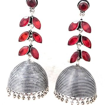 Long triple layer leaf stone Oxidized Jhumka Earring