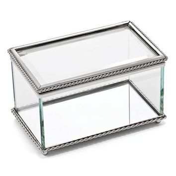 Nickel-plated Hinged Rectangular Glass Box - Etching Personalized Gift Item