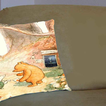 Winnie The Pooh Classic Sherlock - Pillow Case, Pillow Cover, Custom Pillow Case **