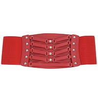 Rockabilly Wide Elastic Rhinestones and studs Accent Corset Belt
