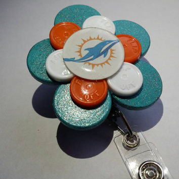 Miami Dolphins Recycled Medication Vial Cap ID Badge Holder