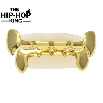 ac DCCKO2Q Christmas Gift Hip Hop  Gold Color Teeth Grillz TOP & BOTTOM GRILLS SET With silicone Vampire Grills Party Decoration