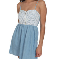 Chambray Bustier Lace Dress | Shop Dresses at Wet Seal