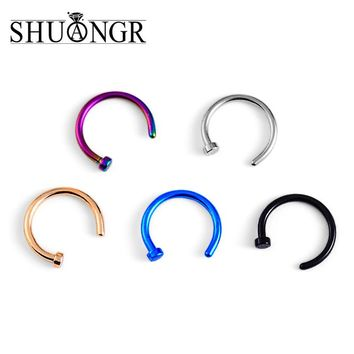 SHUANGR Medical Titanium Punk Clip On Fake Piercing Body Nose Lip Rings Unisex Nose Ring Women Septum Piercing Clip 5 Colors