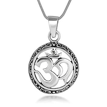Sterling Silver 21 mm Celtic Aum Om Ohm Sanskrit Symbol Yoga Charm Pendant Necklace 18''