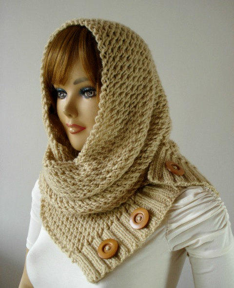 Knitting Pattern Infinity Scarf Hood : KNITTING PATTERN HOODED Cowl Scarf - from LiliaCraftParty ...