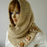 KNITTING PATTERN HOODED Cowl Scarf - LouLou Hodded Cowl - Hooded Infinity Scarf Knit Pattern pdf Instant download