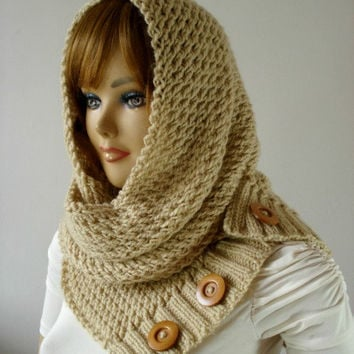 KNITTING PATTERN HOODED Cowl Scarf - from LiliaCraftParty on Etsy