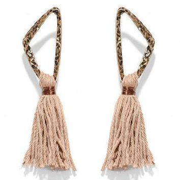 Indie Brass Tassel Earrings