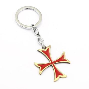 Assassins Creed Keychain Cross Ordre du Temple Key Ring Holder Gift Chaveiro Car Key Chain Pendant Jewelry Souvenir YS11785