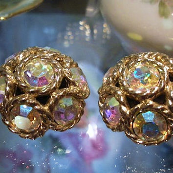Sarah Coventry Earrings Clip On Rhinestone Earrings Sarah COV 1950s 50s Mid Century Midcentury Northern Lights Aurora Borealis Rhinestones