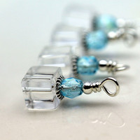 Clear Square Cube Crystals with Aqua Blue Czech Crystals Vintage Style Bead Dangle Set