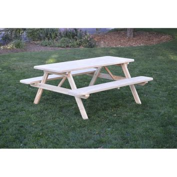 "A & L Furniture Co. Pressure Treated Pine 4' Table w/ Attached Benches - Specify for FREE 2"" Umbrella Hole  - Ships FREE in 5-7 Business days"
