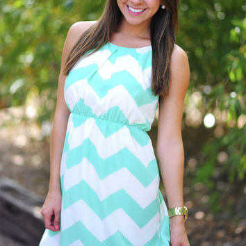 Innocence In Chevron Dress: Mint/Off White | Hope's