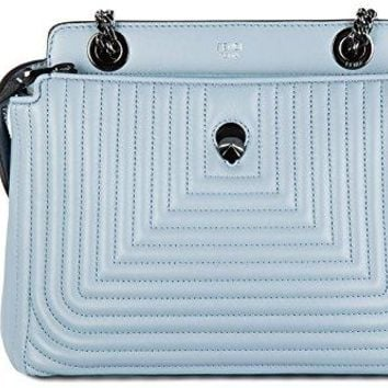Fendi women's leather cross-body messenger shoulder bag dotcom click blu