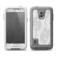 The White Floral Lace Samsung Galaxy S5 LifeProof Fre Case Skin Set