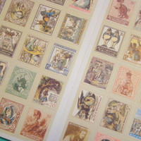 Alice in Wonderland Stickers -  Cute Retro Style Postage Stamps, 80 Pieces