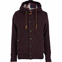 Dark red Tokyo Laundry hooded cardigan - cardigans - sweaters / cardigans - men