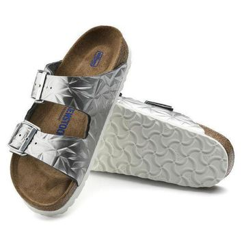 CREYNW6 Sale Birkenstock Arizona Soft Footbed Leather Spectral Silver 1008479/1008480 Sandals