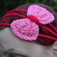 Princess bow headband in pink and hot pink, bow tie crochet headband, Three strand crochet hairband