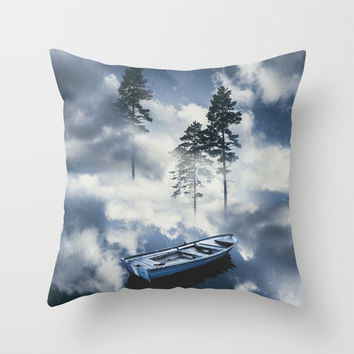 Forest sailing Throw Pillow by happymelvin